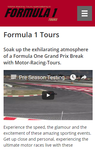 Formula 1 Tours on mobile device