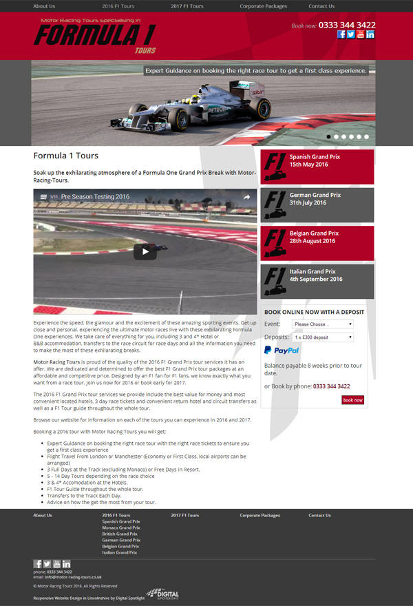 Formula 1 Tours website